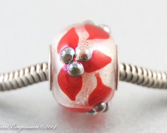 Red Poinsettia Big Hole Charm Bead, Limited Edition, Christmas Holidays, SRA Handmade Lampwork