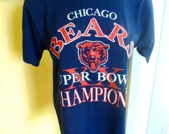 Chicago Bears 1985 Super Bowl XX Champions NFL vintage tee - blue size small