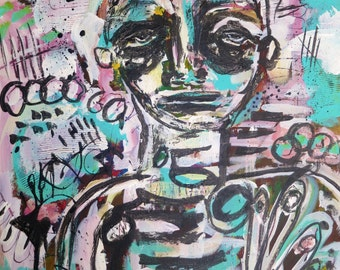 Abstract painting art original contemporary portrait on canvas