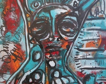 """Contemporary painting abstract portrait outsider low brow bunny rabbit art…""""STILL LISTENING"""""""