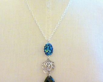 Titanium Blue Druzy Necklace, Faux Druzy Drop Pendant Necklace, Rose Necklace, Blue Gemstone Necklace, Charm Necklace