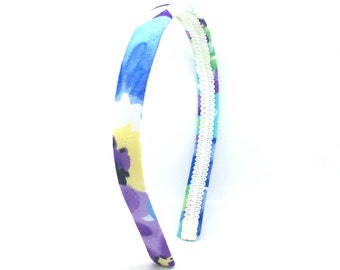 Easter Floral Headband  - Flower Print Narrow Headband - Spring Floral Colors Fabric Covered Plastic Headbands for Girls and Adult Women