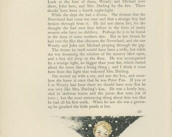 Peter Pan Vintage Print 1931-  J. M. Barrie, Gwynedd Hudson. Peter Breaks Through, Illustrated Page, Mrs Darling