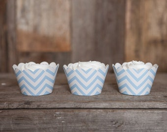 12 Light Blue Chevron Cupcake Wrappers - Light Blue Cupcake Wrappers - Chevron Cupcakes - Great for Birthday Parties & Baby Showers