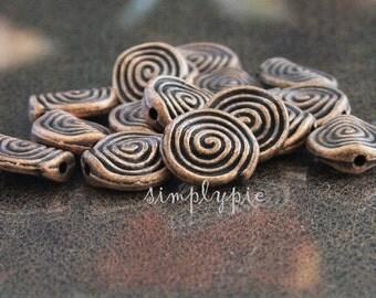 Ammonites Antiqued COPPER Metal Beads 11mm: 12