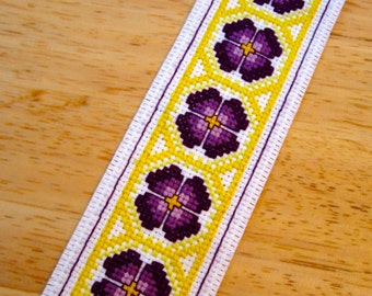 Floral Handmade Cross Stitch Bookmark in Yellow and Purple (#268)