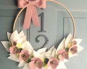Handmade Felt Hoop Door Wreath Decoration - Adorn 14""