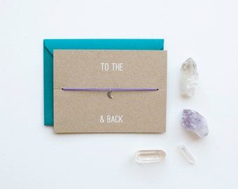 To the Moon and Back - Charm Card - Silver - friendship necklace & bracelet - bridesmaid gift - birthday card - best friends - bff - love