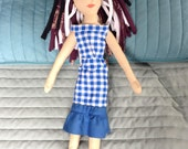 OOAK cloth Betsy doll with black Purple and White Hair with a checked vintage reproduction Dress