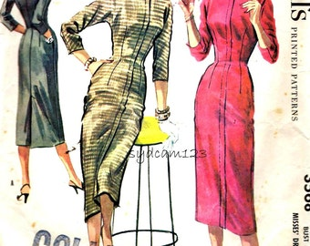Vintage 1950s Pattern Zip Front Wiggle Dress Optional Tab Button Collar 1956 McCalls 3568 Bust 30