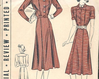 Vintage 1930s Pattern Shirtwaist Dress Pleated Bodice Flared Skirt 1939 Pictorial Review 9760 Bust 32 UNCUT