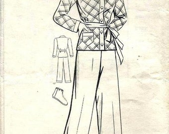Vintage 1940s Pajamas and Slippers Button Front Shirt Wide Leg Cuffed Pants and House Slippers Mail Order 9902 Bust 36