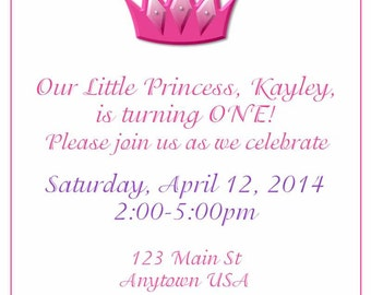Digital Birthday invite-Crown/princess
