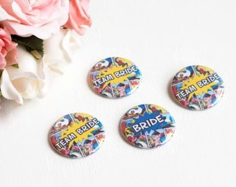 Geek Wedding, Team Bride Pins, Comic Book, Superhero, Bridal Party Buttons, Bachelorette Party, Magnet Badge, Nerd Bride