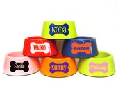 ORANGE - Personalized Dog Bowl - Mix and Match - Bone - Colorful - Bright