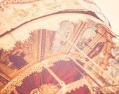 Carousel photography, nursery wall art, whimsical decor, Paris wall decor, crimson red, butter yellow, Montmartre, French decor, Paris art