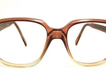 1970s Mens Eyeglasses // 70s Vintage Frames // Two Tone Brown Clear // Spain // Designer Louis Haritver