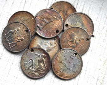 RARE Antique Astrolgical Charms // 1920s 1930s Horoscope Pendants // Good Luck Birthday Coins // NOS Jewelry Supply // Art Deco