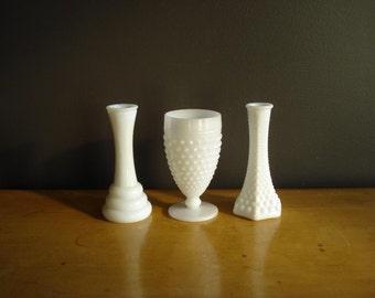 Unmatched Tiny Trio - Milkglass Vases - Milk Glass Set of Three