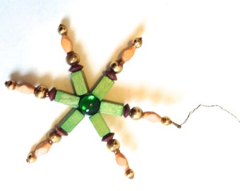 Vintage Christmas tree ornament, decoration. Glass wood and wire.