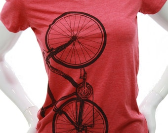 Bicycle| Soft lightweight T shirt| Slim fit tees| scoop neck| Art by MATLEY| Great gift for her| Fitted t shirt| Bike.