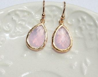 Pink Opal Earrings, Teardrop Earrings Gold, Milky Shades of Violet Pink Faceted Glass Drop Earrings - Feminine Bridal Jewelry - Gift to Her