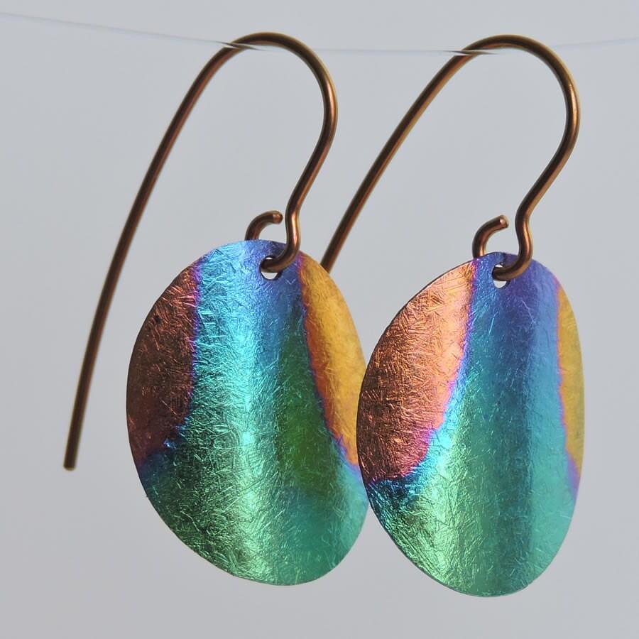 Niobium earrings OOAK Chaos anodized oval dangles