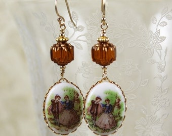 Vintage 18th Century Style Glass Topaz Beaded Drop Earrings