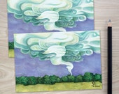 tornado note card set, storm and weather stationery, blank art print cards and envelopes