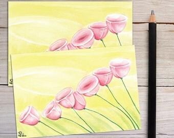 pink flowers card, flower cards, botanical notecard set, watercolor art print, flower stationery