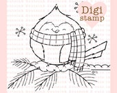 Winter Cardinal Digital Stamp Line Art for Card Making, Paper Crafts, Scrapbooking, Hand Embroidery, Jewlery, Coloring Pages