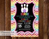 Bowling Invitation, Bowling Party Invite, Rainbow Bowling Invitation, Chevron Invitation, Bowling Birthday Party Invitation, DIY, Printable