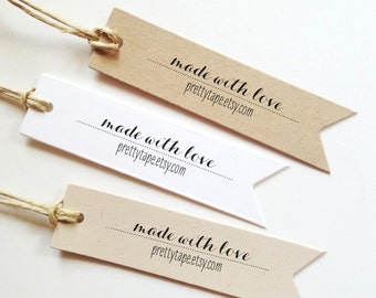 Custom Gift Tags Made With Love Tag Label Wedding Favor Tags Custom Tags Personalized Gift Tags (Set of 25)