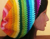 SALE Multi Color Rainbow Colorful Dreadlock Rasta Slouch Beanie Tam Hat