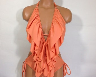 Low cut ruffle one piece MORE COLORS