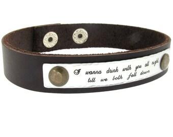 Inspirational Gifts him - Mens Personalized Bracelet, Leather engraved Custom Mens Bracelet, Fathers Day Gift, Mens Leather Bracelet for men