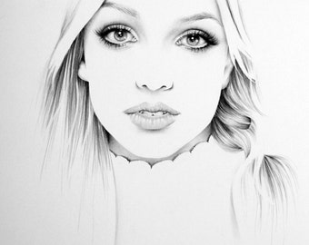 Britney Spears Minimalism Pencil Drawing Fine Art Portrait Print Hand Signed