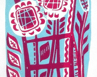 Fleur Linocut Original Relief Print