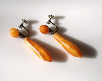 Art Deco Egg Yolk Amber & Silver Earrings