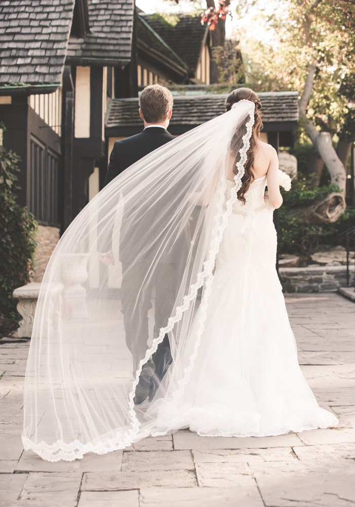 Cathedral veil with alencon lace edge design with beads and for Long veils for wedding dresses