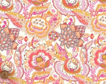 Liberty Tana Lawn Fabric - Liberty Japan, Hello Kitty Tree of Life Garden, Liberty Print Cotton Scrap, Kawaii Quilting - ntkitty03f