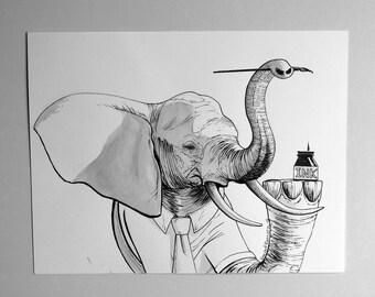 Inktober ink Illustration on paper  - Elephant got ink