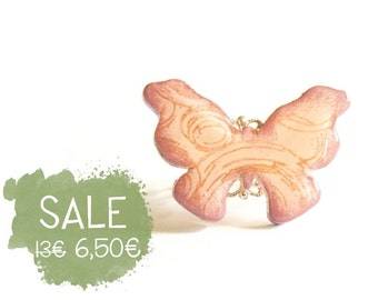 Pink Butterfly Ring, Wooden butterfly on a shiny silver filigree ring