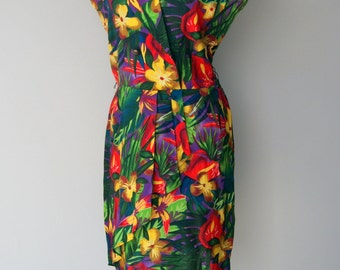 Vintage 1980s Jungle Print Mini Dress