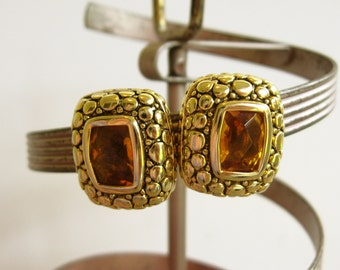 Vintage Amber Glass Rhinestone Earrings, Chunky Earrings, Gold Clip On Earrings, Textured Earrings, Warmed Toned Jewelry, Stocking Stuffers