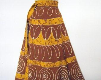 vintage 60s 70s BATIK dyed Maxi length wrap skirt, size xl  xxl