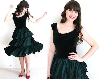 50s Party Dress / 1950s Dress / 50s Green Velvet Holiday Party Dress