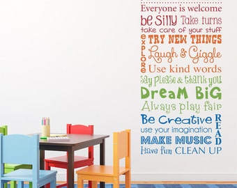 Playroom Rules Wall Decal - Multiple Color Version - Vertical Large