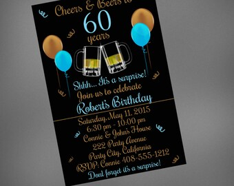 Cheers & Beers to 60 years, Cheers and Beers 60th Birthday Invitation, Cheers and Beers Surprise Invitation