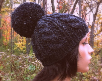 Hand Knit Hat Womens Chunky Cable Pom Pom Beanie Hat - Charcoal - MADE TO ORDER